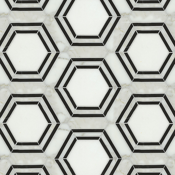 Pembroke, a natural stone waterjet mosaic shown in Calacatta Tia, Thassos and Nero Marquina honed, is part of the Silk Road Collection by Sara Baldwin for New Ravenna Mosaics.