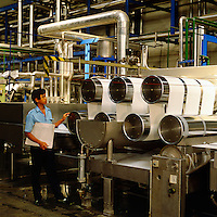 Polyester spinning plant.  Near Jakarta, Indonesia..