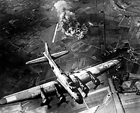 &quot;The first big raid by the 8th Air Force was on a Focke Wulf plant at Marienburg.  Coming back, the Germans were up in full force and we lost at least 80 ships - 800 men, many of them pals.&quot;  1943. Army Air Forces.  (OWI)<br /> Exact Date Shot Unknown<br /> NARA FILE #:  208-YE-7<br /> WAR &amp; CONFLICT BOOK #:  1087