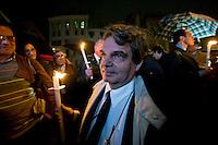 Roma 18  Aprile 2012.Fiaccolata davanti al Pantheon di imprenditori e lavoratori, sindacati, per dire basta ai tanti,  suicidi causati dalla  crisi economica. Renato Brunetta