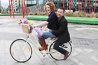 NO REPRO FEE. 8/6/2011. Dublin's Bike to Work Day. Dublin's 98FM DJ Claire Solan and co-host Aidan Power are pictured at Grand Canal Dock launching Bike to Work Day, they took a spin around Dublin Docklands on Dutch bicycles to prepare for the lunchtime cycle on June 22nd, at which all workers who cycle to their place of employment will be encouraged to take part.Win one of 500 goodie bags by registering to attend the event @ www.dublincitycycling.ie. Prizes for best dressed will also be presented following the cycle For further information contact:Emer O'Reilly, Limelight Communications E: emer.oreilly@limelight.ie T: 01 6680600 /0868593658. Picture James Horan/Collins Photo