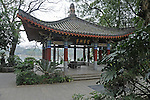 Pagoda roofed pavilion in Zizhou Park, along Li River, in Guilin,Chins