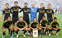 CARSON, CA – July 4, 2011: LA Galaxy starting line-up during the match between LA Galaxy and Seattle Sounders FC at the Home Depot Center in Carson, California. Final score LA Galaxy 0, Seattle Sounders FC 0.