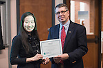 Porsche Ruengvirayudh won the People's Choice Award for her doctoral thesis presentation at the 3 Minute Thesis Competition held in Stocker Center on February 15, 2017.
