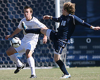 Joey Dillon #2 of Georgetwn University goes for the ball with Joseph Schmid #18 of Villanova University during a Big East match at North Kehoe Field, Georgetown University on October16 2010 in Washington D.C. Georgetown won 3-1.