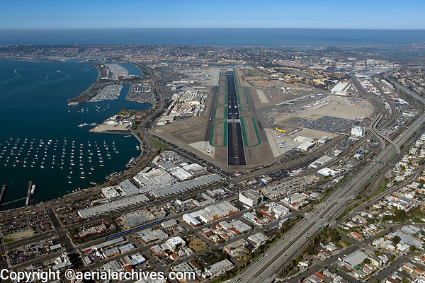 aerial view above Lindbergh Field San Diego International Airport California