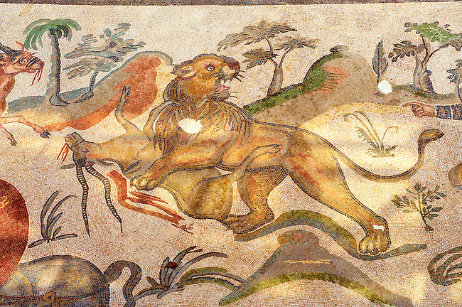 Hunters - Ancient Roman mosaics at the Villa Romana del Casale, Sicily, Italy Pictures, Photos, Images &amp; fotos