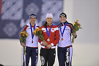 SPEED SKATING: SALT LAKE CITY: 20-11-2015, Utah Olympic Oval, ISU World Cup, Podium 500m Ladies, Brittany Bowe (USA), Hong Zhang (CHN), Heather Richardson (USA), ©foto Martin de Jong