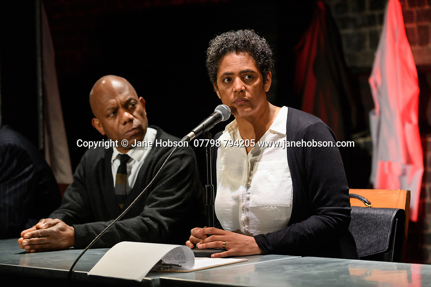"London, UK. 10.04.2017. A brand new adaptation of Albert Camus' ""The Plague"" opens at the Arcola Theatre. Adapted and directed by Neil Bartlett. Picture shows: Burt Caesar (Grand), Sara Powell (Dr Rieux). Photograph © Jane Hobson."