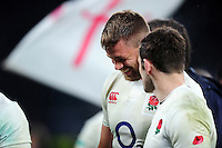 Dave Attwood of England shares a joke after the match. Old Mutual Wealth Series International match between England and South Africa on November 12, 2016 at Twickenham Stadium in London, England. Photo by: Patrick Khachfe / Onside Images