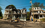 WATERBURY,  CT-051817JS01- Investigators were on the scene early Thursday to assess the damage the day after a fire destroyed four homes on Lounsbury Street  in Waterbury.  <br /> Jim Shannon Republican-American
