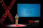 """Jan. 21, 2014; Michael Mesterharm delivers his talk titled, """"Don't Miss the Trees for the Forest: Learning to Leverage (and Appreciate) Small Data,"""" during the TEDxUND 2014 event in the Debartolo Performing Arts Center. Photo by Barbara Johnston/University"""