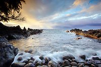 The rocky beach cove at Laupahoehoe on the Hamakua coast of the Big Island of Hawaii, USA