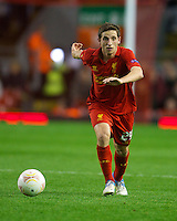 LIVERPOOL, ENGLAND - Thursday, October 4, 2012: Liverpool's Joe Allen in action against Udinese Calcio during the UEFA Europa League Group A match at Anfield. (Pic by David Rawcliffe/Propaganda)