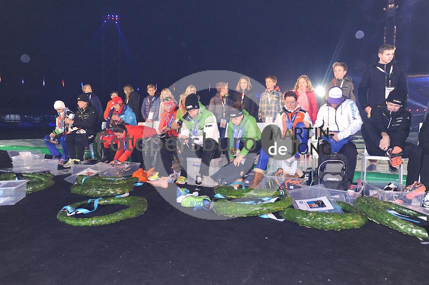 SCHAATSEN: AMSTERDAM: Olympisch Stadion, 28-02-2014, KPN NK Sprint/Allround, Coolste Baan van Nederland, Huldiging Olympische medaillewinnaars, ©foto Martin de Jong