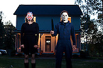 """October 23, 2010. Hillsborough, NC.. Kenny Caperton, a former employee of Rob Zombie, has built an exact replica of the famous Michael Myers house from the movie """"Halloween"""" in the woods is Hillsborough, NC. Accurate down to the last architectural detail, the house is frequently used as a filming location for horror movies.."""