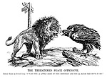 """The Threatened Peace Offensive, German Eagle (to British Lion). """"I warn you - a little more of this obstinacy and you'll rouse the dove in me!"""""""