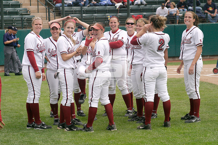 STANFORD, CA - May 3:  Christina Goswiller, Erikka Moreno, Jenna Becerra, Autumn Albers, Sarah Hassman, Mary Kate Smith, Shannon Koplitz, Ashley Hansen, Maddy Coon and Melisa Koutz of the Stanford Cardinal during Stanford's 2-1 win over the Arizona Wildcats at Boyd and Jill Smith Family Stadium on May 3, 2009 in Stanford, California.