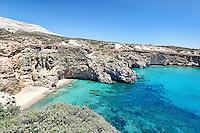 The beautiful beach Tsigrado in Milos, Greece
