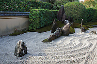 "Zuiho-in Zen Garden's most intriguing feature is its main rock garden called ""Dozuka-tei"", which is raked into appealing patterns to suggest water ripples lapping against rock formations representing the Hohrai Mountains."