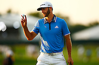 Dustin Johnson reacts following his putt on the 11th green during the 2016 U.S. Open in Oakmont, Pennsylvania on June 18, 2016. (Photo by Jared Wickerham / DKPS)