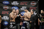 October 23, 2009; Los Angeles, CA; USA;  Cain Velasquez (l) and Ben Rothwell (r) weigh-in for their upcoming bout.  The two will meet tomorrow night atUFC 104 at the Staples Center in Los Angeles, CA.