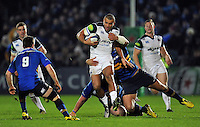 Jonathan Joseph of Bath Rugby takes on the Leinster defence. European Rugby Champions Cup match, between Leinster Rugby and Bath Rugby on January 16, 2016 at the RDS Arena in Dublin, Republic of Ireland. Photo by: Patrick Khachfe / Onside Images