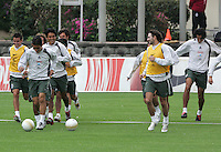 Mexico national soccer team players Mario Mendez (L-R), Omar Bravo, Claudio Suarez, Duilio Davino and Francisco Javier Rodriguez train at the Centro Pegaso training center, March 27, 2006. Photo by Javier Rodriguez