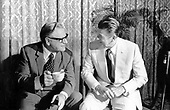 United States Senator Barry Goldwater (Republican of Arizona) meets Governor Ronald Reagan (Republican of California) during the 1972 Republican National Convention in Miami, Florida on August 19, 1972..