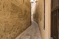 United Arab Emirates, Dubai, Alleyway, Bastakiya Quarter, restored historic site