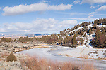 Sevier River, Utah; Highway 89 between Glendale and Long Valley Jct, partially frozen, twisting Sevier River with Grand Staircase-Escalante National Monument in the background