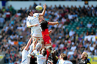 Mitch Lees of Exeter Chiefs wins the ball at a lineout. Aviva Premiership Final, between Saracens and Exeter Chiefs on May 28, 2016 at Twickenham Stadium in London, England. Photo by: Patrick Khachfe / JMP