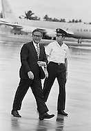 19 Jun 1972, Guam --- The Andersen Air Force Base on Guam Island from where the B52 bombers take off for Vietnam. Henry Kissinger, Nixon's advisor, with General Johnson, Andersen Base Chief Commander, visiting Guam on his way to China. --- Image by © JP Laffont/Sygma/Corbis