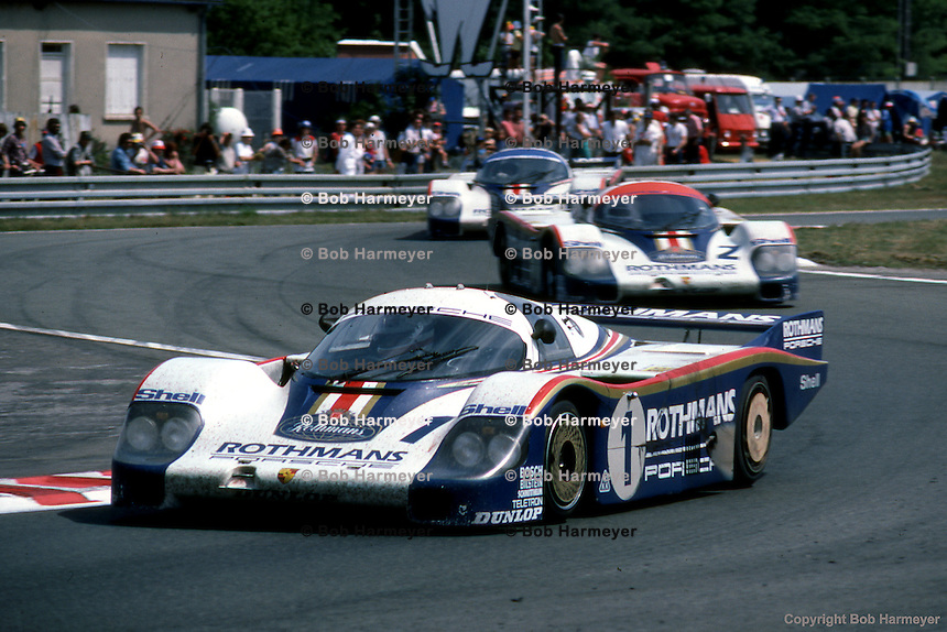 Rothmans Porsche team cars near the finish of the 1982 24 Hours of Le Mans race.