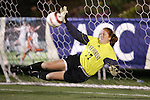 3 November 2006: Wake Forest goalkeeper Kaitlyn Doe (17) makes a one-handed save on the first Florida State penalty kick. Florida State defeated Wake Forest 4-2 in penalty kicks after playing to a 0-0 draw after overtime at SAS Soccer Park in Cary, North Carolina in an Atlantic Coast Conference women's college soccer tournament semifinal game.