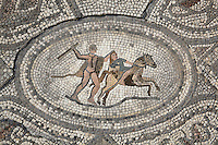 Roman mosaic of Hercules killing Hippolyta, Queen of the Amazons, to get her belt, his eighth labour, from the Labours of Hercules mosaic in the House of the Labours of Hercules, 1st century AD, Volubilis, Northern Morocco. Volubilis was founded in the 3rd century BC by the Phoenicians and was a Roman settlement from the 1st century AD. Volubilis was a thriving Roman olive growing town until 280 AD and was settled until the 11th century. The buildings were largely destroyed by an earthquake in the 18th century and have since been excavated and partly restored. Volubilis was listed as a UNESCO World Heritage Site in 1997. Picture by Manuel Cohen