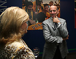 27 August 2006: MLS Commissioner Don Garber (r) talks with Nancy Anschutz (l), wife of MLS investor and 2006 Hall of Fame inductee Philip Anschutz (not pictured), during the opening of a new exhibit commemorating the first ten years of Major League Soccer. The President's Reception and Dinner were held at the National Soccer Hall of Fame in Oneonta, New York the evening before the 2006 Induction Ceremony.