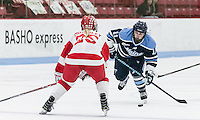 Boston, Massachusetts - February 19, 2017: NCAA Division I. Boston University (white) defeated University of Maine (blue), 5-0, at Walter Brown Arena.