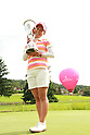 Ai Miyazato (JPN),JULY 24, 2011 - Golf :Ai Miyazato of Japan celebrates with the trophy after winning the Evian Masters at the Evian Masters Golf Club in Evian-les-Bains, France. (Photo by Yasuhiro JJ Tanabe/AFLO)