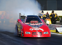 Feb 12, 2016; Pomona, CA, USA; NHRA funny car driver Gary Densham during qualifying for the Winternationals at Auto Club Raceway at Pomona. Mandatory Credit: Mark J. Rebilas-USA TODAY Sports