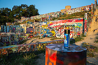 Colorful graffiti art covers the walls of the popular Hope Outdoor Gallery in downtown Austin - Stock image.