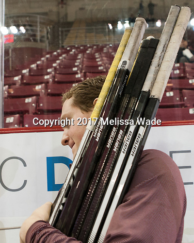 Chuck Van Kula (BC - Student Manager) - The visiting Boston University Terriers defeated the Boston College Eagles 3-0 on Monday, January 16, 2017, at Kelley Rink in Conte Forum in Chestnut Hill, Massachusetts.