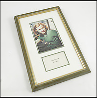 BNPS.co.uk (01202 558833)<br /> Pic: PhilipSerrellAuctions/BNPS<br /> <br /> A calling card, Eva Braun Munchen, framed with a colour photograph of Eva Braun. sold for &pound;120.<br /> <br /> A pair of silk frilly knickers worn by Adolf Hitler's mistress Eva Braun for the Nazi dictator have sold at auction for almost &pound;3,500.<br /> <br /> The pair of lilac undies, that have Braun's monogrammed initials embroidered on the front of them, got pulses racing when they went under the hammer. <br /> <br /> The Nazi swas-knickers were liberated by an American serviceman who found them in an abandoned bunker in the Platterhof Hotel next to Hitler's Berghof home in the Bavarian Alps.<br /> <br /> The soldier kept them as a souvenir and took them back to the US with him after the Second World War.