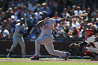 SAN FRANCISCO, CA - OCTOBER 2:  Yasiel Puig #66 of the Los Angeles Dodgers bats against the San Francisco Giants during the game at AT&T Park on Sunday, October 2, 2016 in San Francisco, California. Photo by Brad Mangin