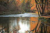 Panoramic photo by Leandra Lewis at Round Spring in the fall of spring water flowing into the river.
