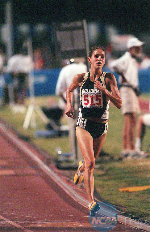 03 JUNE 2000:  Coloradoâ Kara Wheeler took a commanding lead in the womenâ 5000 meters of the NCAA 2000 Track and Field Championships at Duke Universityi, winning the event in 15:54.3.She came back the next night to win the 3000 meters becoming only one of three double champions in the meet,  Rich Clarkson/NCAA Photos
