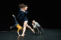 "London, UK. 09.12.2014. Candoco Dance Company presents ""Let's Talk About Dis"", choreographed by Hetain Patel, in the Queen Elizabeth Hall, in the Southbank Centre. Picture shows: Adam Gain, Mirjam Gurtner, Rick Rodgers. Photograph © Jane Hobson."