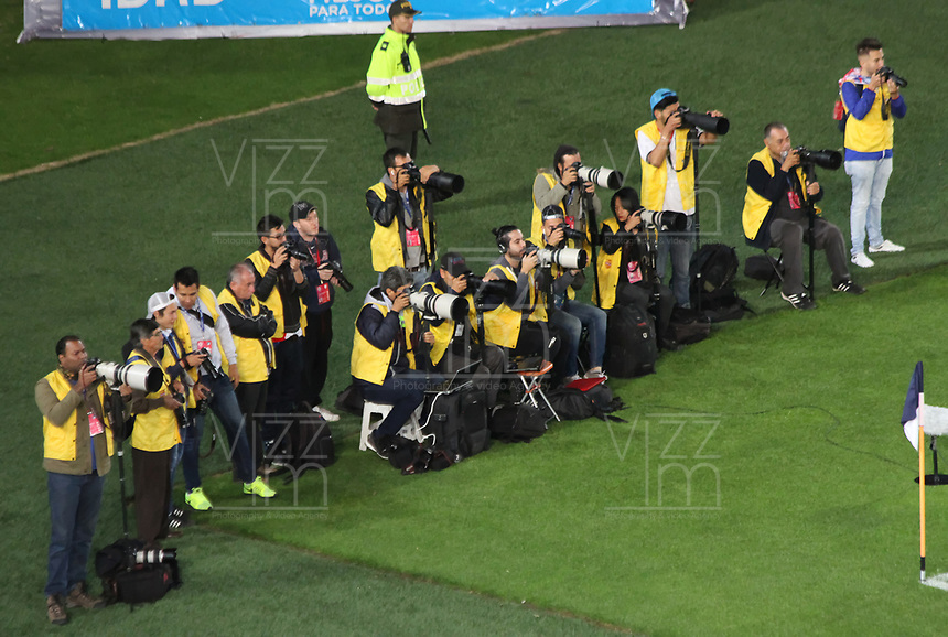 BOGOTA -COLOMBIA, 19-03-2017. Press photographers during match Millonarios and Santa Fe.Actions game between  Millonarios and  Santa Fe during match for the date 10 of the Aguila League I 2017 played at Nemesio Camacho El Campin stadium . Photo:VizzorImage / Felipe Caicedo  / Staff