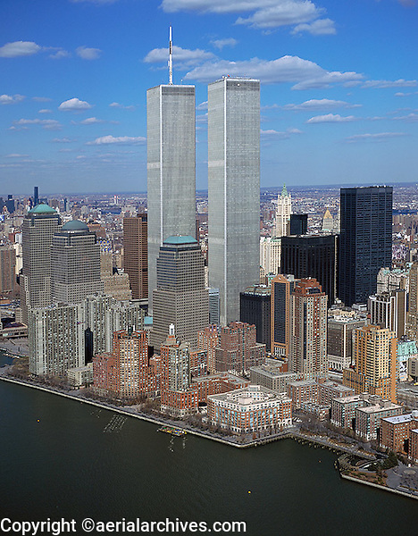 aerial photograph World Trade Center towers, Manhattan, New York City