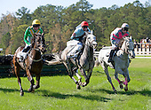 Dubai Sunday (left),  Junood, and Cuse slug it out in the Highweight Hurdle at Callaway.